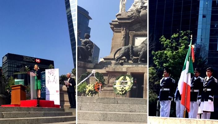 Ceremonia en el Ángel de la Independencia