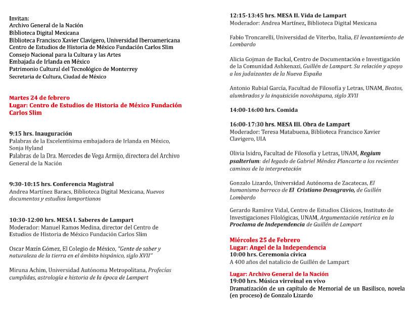 Programa del Coloquio Lampart